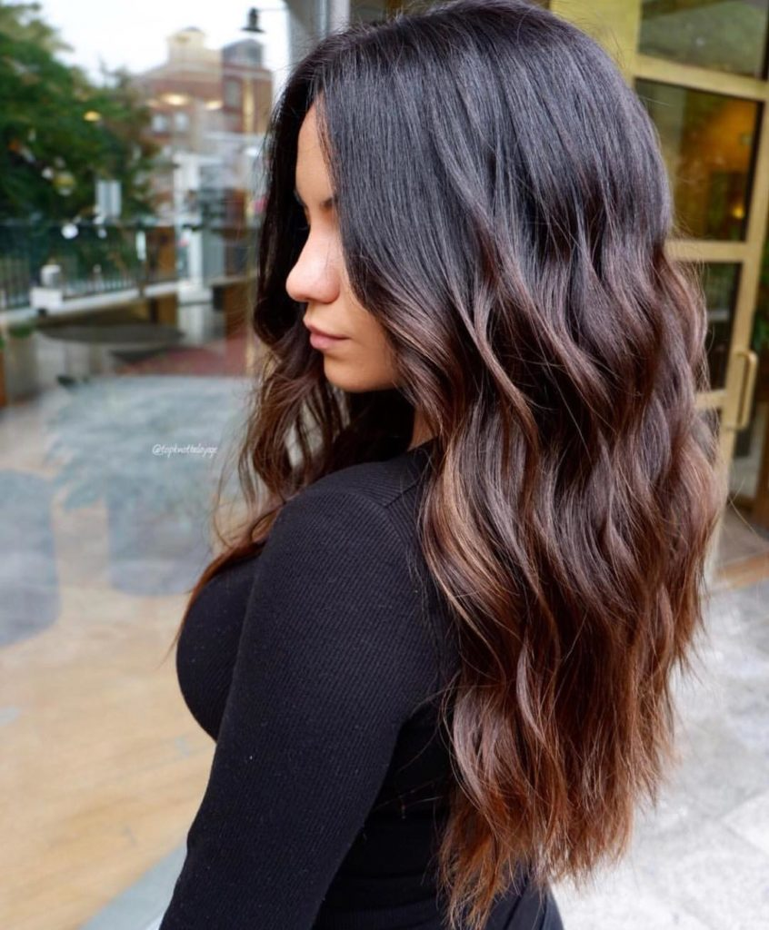 Фарбування волосся балаяж на темне волосся